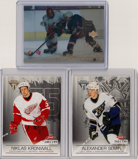 Daniel Briere RC and Alexander Semin RC and Nicklas Kronwall RC